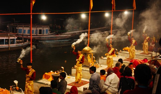 Evening Aarti Along River Ganges