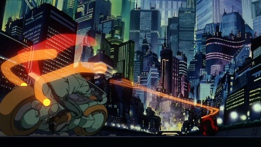 Kaneda and Tetsuo riding in Neo-Tokyo during nighttime.