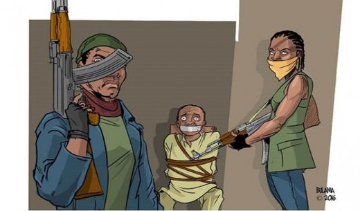 Cartoon illustration of kidnapping in the Federal Republic of Nigeria.