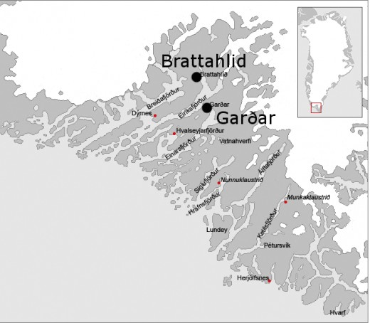 Gardar and Brattahlid, Eastern settlements on Greenland - see the site of Hvalsey church left of Brattahlid on the map here