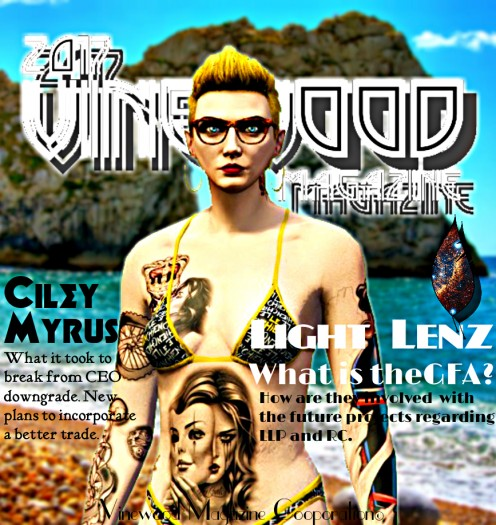 Ciley on the cover of Vinewood Magazine