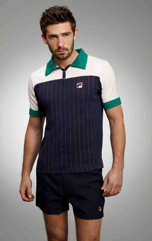 Blue, white and green Fila Del Sol polo