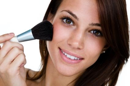 Apply transparent matte face powder to absorb oil and keep skin looking fresh.