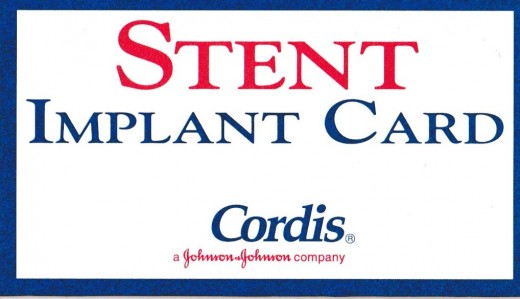 This is the front of an Intervention Radiology stent card given to patients who receive them. I found it interesting that the Cordis stent is made by Johnson & Johnson Company.