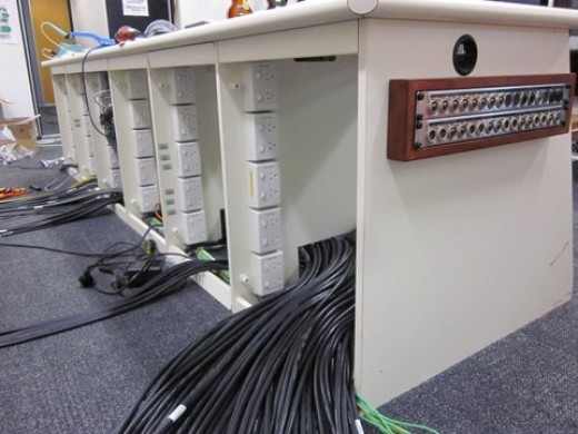 Cable management system at Hux.