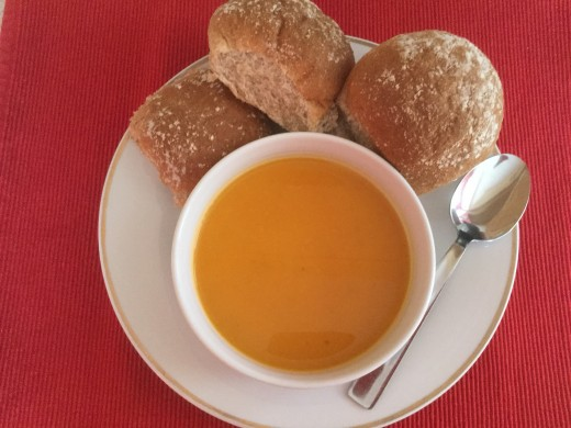 A good wholemeal bread served with butternut squash soup will boost the intake of dietary fibre, vitamin B6 and protein