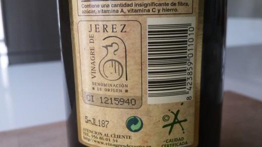 Sherry vinegar's Denominación de Origen stamp