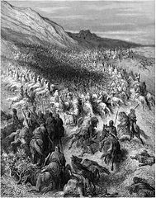 Depiction of the armies approaching Hattin