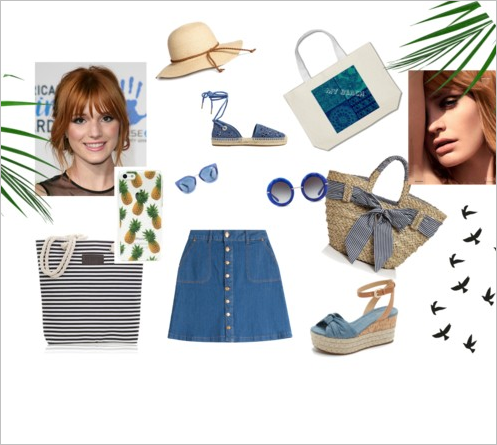 Cool denim and straw bag and hat create a difference in texture that you need.