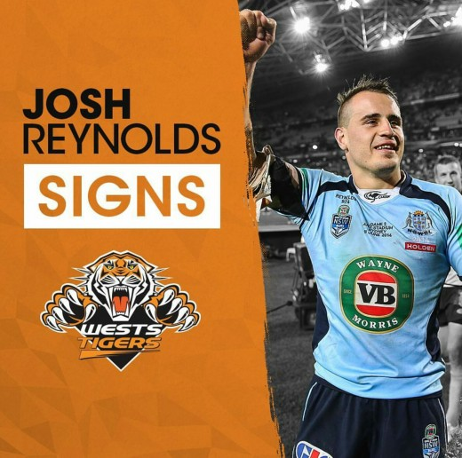 Josh Reynolds Announcement on Wests Tigers Instagram