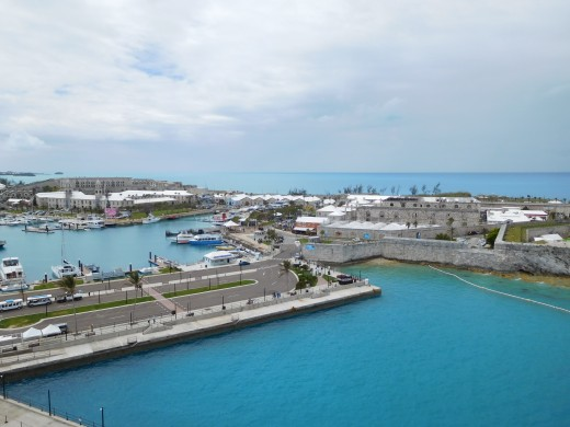 A view from the Caribbean Princess cruise ship docked in King's Wharf, Bermuda.