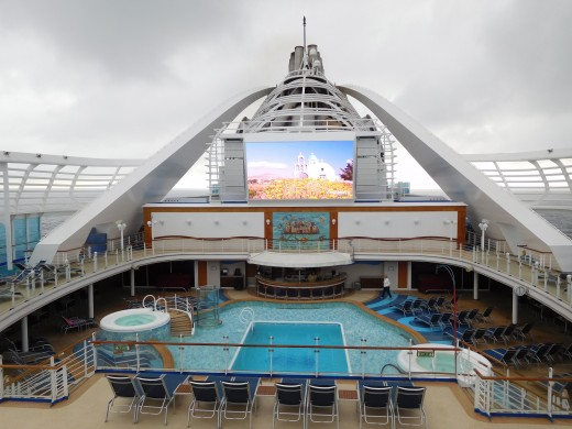 "The ""Movies Under the Stars"" screen on the Caribbean Princess"