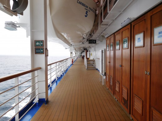 The Promenade Deck on the Caribbean Princess which many people use to walk or run laps for exercise.