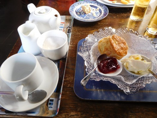 A fresh pot of tea with a scone, clotted cream          (famous in this area) and jam for dessert!
