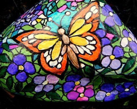 Butterfly stained glass themed garden rock hand-painted by nancymaggielee
