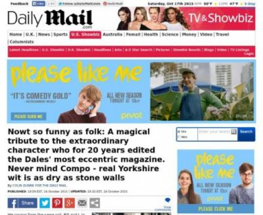 The 'Daily Mail' tribute to Dalesman editor and journalist Bill Mitchell. 'The Dalesman' is read far and wide, beyond the bounds of Yorkshire's western hilly (and in parts mountainous) western region.