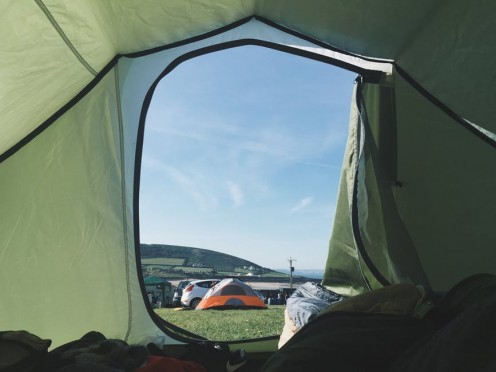 A camper's eye view of the inside of a securely-designed tent.