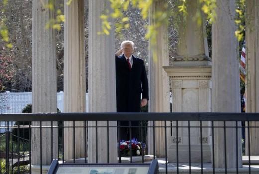 Trump lays a wreath on Andrew Jackson's tomb. 3/15/17
