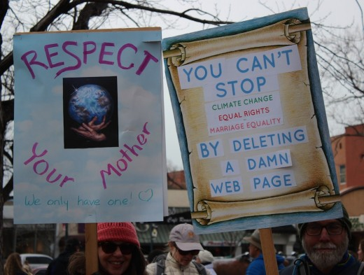 Protest signs at the Women's March - Colorado Springs, January 20, 2017