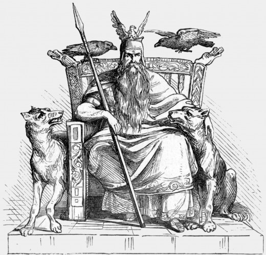 Odin on his throne with two ravens - Huginn and Muninn.