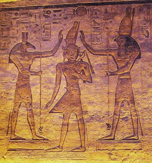 Set on the left crowning Ramsses