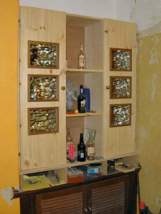 Previous cupboard extension; building Welsh Dresser on top of existing cupboard.