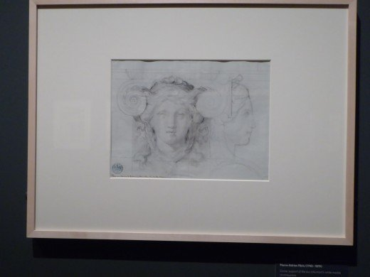 Drawing by Pierre-Adrien Paris. Black chalk on paper. Corner support of the duc d'Aumont's white marble chimneypiece 1775. Image by Frances Spiegel with permission from The Wallace Collection. All rights reserved.
