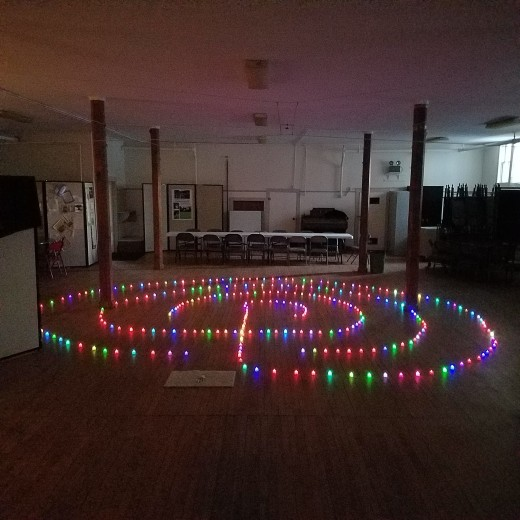 Labyrinth of light built by Seafarer Mama in her  church hall.