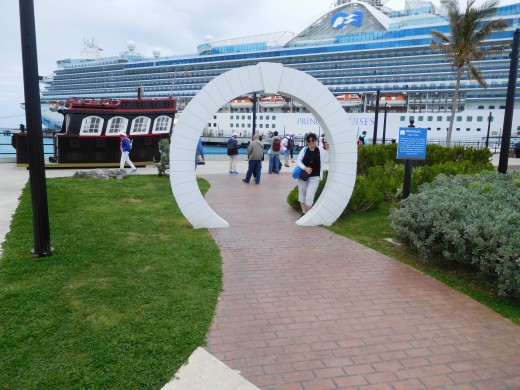 I recently returned to Bermuda on a cruise and had my picture taken by my husband by a Moongate. Love the ship in the background!