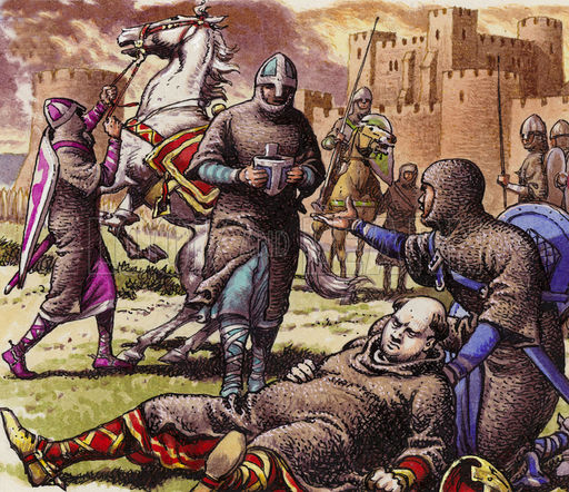 William, having fallen from his horse in pain was tended to by his barons and knights. They tried to make him comfortable..(notice the different coloured horse).