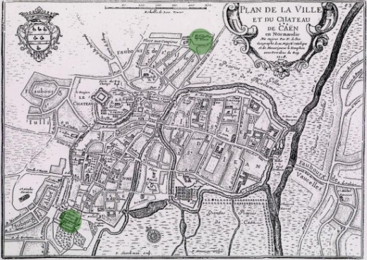 A map of Caen produced in 1718 shows the sites of the Abbaye aux Hommes (bottom left) and the Abbaye aux Dames (top centre)