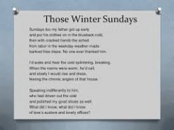 Those Winter Sundays: Poetic Analysis