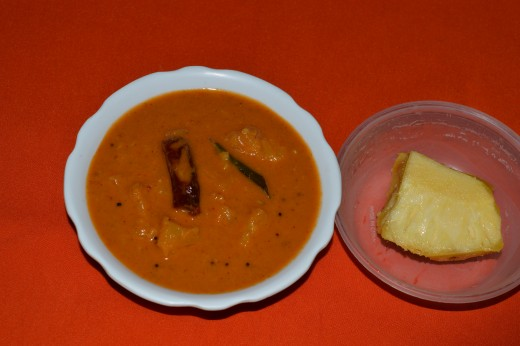 Step four: mix the spice paste and sauteed pineapple. Pineapple gojju(curry) is ready to serve!