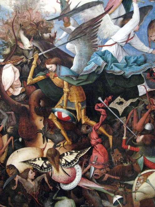 "The archangel Michael on the painting ""The Fall of the Rebel Angels""."