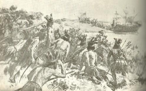Landing of Juan Diaz de Solis on the shores of the Banda Oriental (Uruguay today), with Charruas lying in wait