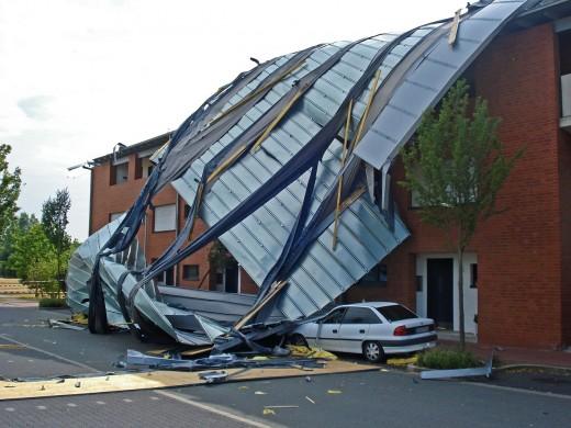 Storm damaged roof.