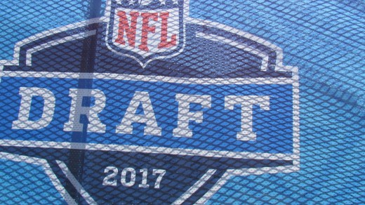 A close up photo of the sign for the NFL Drafts which was held at Philadelphia Museum of Arts on the Rocky Steps.