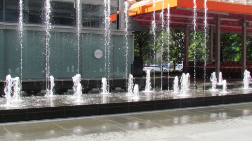 A photo of the beautiful water fountain outside of City Hall in Philadelphia.