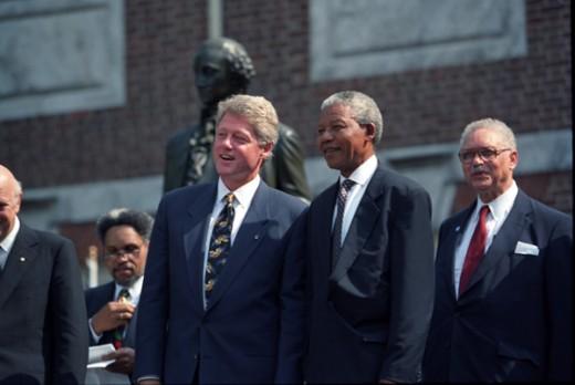 Nelson Mandela with Bill Clinton