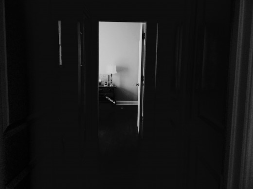 Dark Hallway and Open Door (Taken and Edited by Lila)