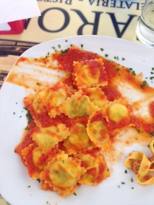 My (half-eaten) ravioli in Rome!