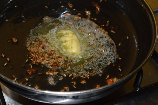 Step two: saute cumin seeds in butter