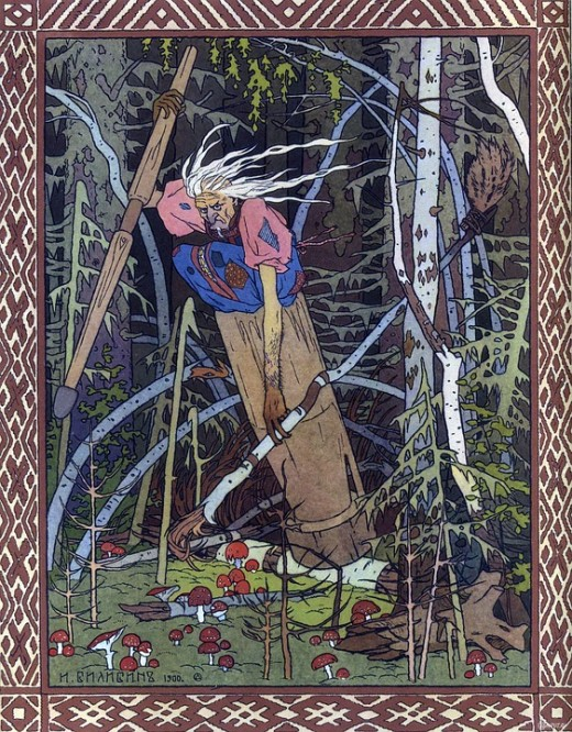 Baba Yaga is a crone-goddess of Slavic folklore.