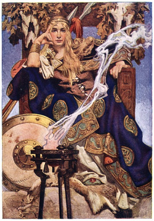 Medb is pictured here with blonde hair, sort of like a Viking; however, I picture her with fierce eyes and red hair.