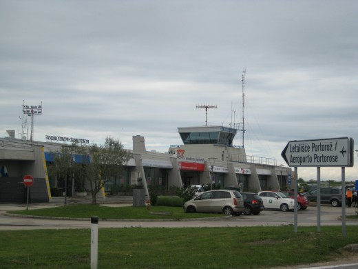The airport on the outskirts of Portoroz, Slovenia