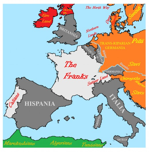 Imperial Provinces: Dark Gray. Latin-Speaking Settlements: Light Gray. Germanic and Slavic Barbarians: Orange. Britannic Natives: Red. Arabic Monotheists: Green.