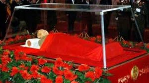 Kim Jong-Il died in 2011 and he is embalmed and preserved in a glass coffin.