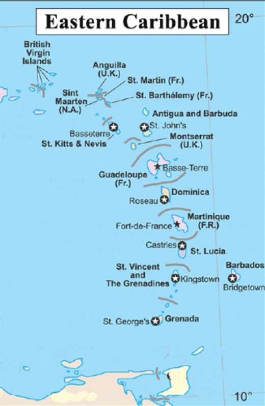 (You won't find the picturesque isle of Lumbago on this map near St Kitts, but there's plenty to choose from without that)