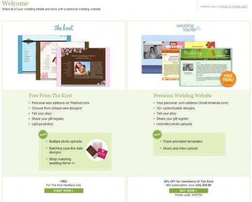 Wedding website options from The Knot