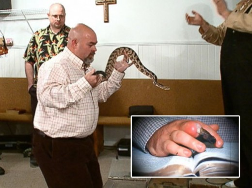 Some Pentecostals wrongly teach the handling of snakes as a test of faith.  This man later died from a snake bite inflicted during church service.